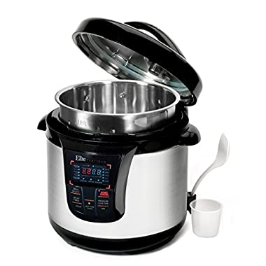 Maximatic EPC-808SS Elite Platinum 8 Quart 14-in-1 Multi-Use Programmable Pressure Cooker, Slow Cooker, Rice Cooker, Sauté, and Warmer with Tri-ply Stainless Steel Inner Pot