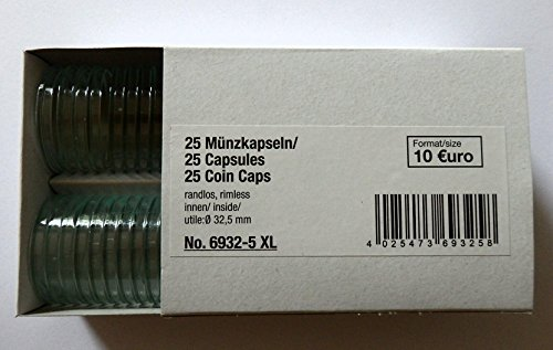SAFE 25 Münzkapseln CAPS 325/32,5 PP Randlos - ohne Rand - Ideal für 10 Euro - 10 DM 10 Mark DDR Münzen - Coincaps - Münzenkapseln