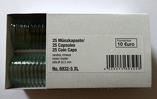 SAFE 50 Münzkapseln CAPS 325/32,5 PP Randlos - ohne Rand - Ideal für 10 Euro - 10 DM 10 Mark DDR Münzen - Coincaps - Münzenkapseln