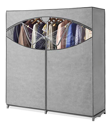Whitmor Portable Wardrobe Clothes Storage Organizer Closet with Hanging Rack - Extra Wide -Grey Color - No-tool Assembly - Extra Strong & Durable - 60'W x 19.5'D x 64' L - Not for outside use