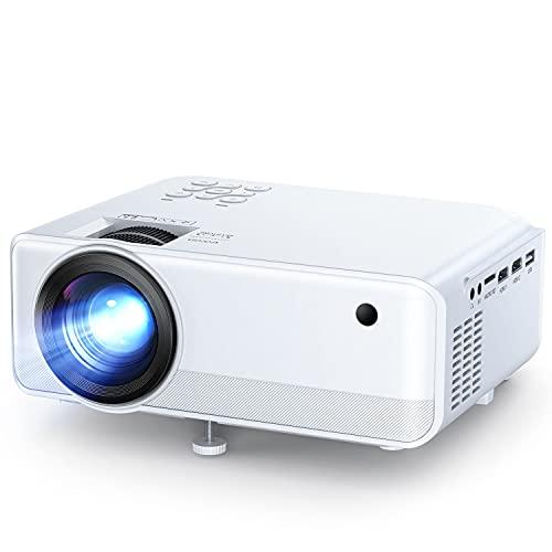 APEMAN Mini Proyector 720P, Soporta 1080p HD Proyector LED Portátil, Doble Altavoz, 50.000 Horas de Vida útil, Home Cinema Soporte HDMI,USB,VGA,TF, y TV Stick