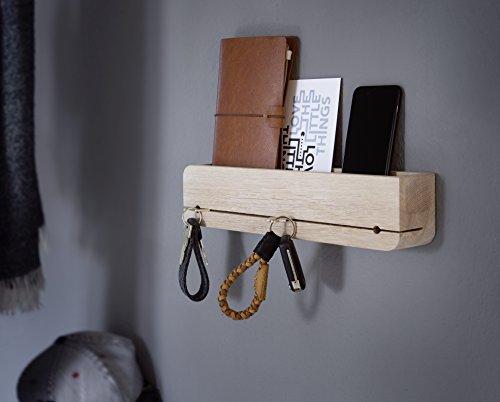 Natuhr llavero de almacenamiento de madera de roble sin tratar sólido DoOrganizer clave titular 35 x 6 x 8 cm barra clave de diseño (roble blanqueado)