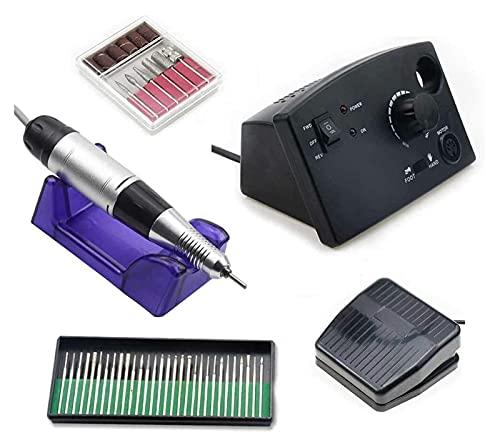 SHUHANG Taladro de uñas eléctrico 35000 RPM Máquina de Taladro eléctrica de uñas Equipos de Arte de uñas Kit de manicura Cerámica Nail bit bit (Color : Black, Size : 15x9.2x8cm)