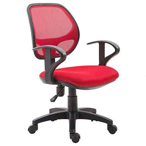 IDIMEX Kinderdrehstuhl Schreibtischstuhl Drehstuhl Bürodrehstuhl COOL, 5 Doppelrollen, Sitzpolsterung, Armlehnen, in rot