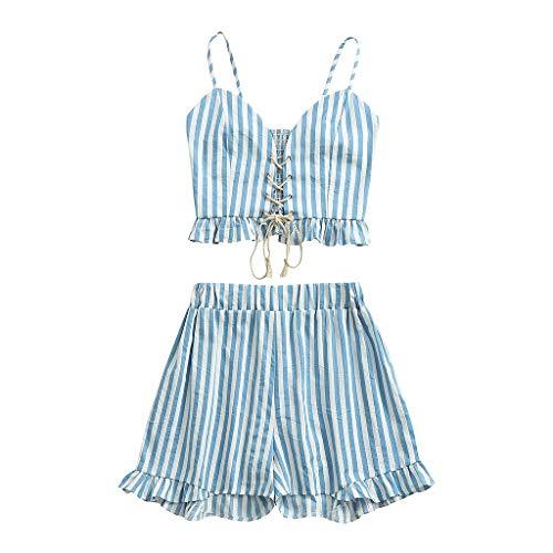 TUDUZ Shorts und Top Sets Damen Sommer Strand Zweiteiler Schulterfrei Sunflower Printed Beachwear Chiffon Boho Ärmellos Crop Tops (X-Blau, M)
