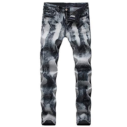 NOBRAND Herren Jeans Plissee Kleine Füße Motorradhose Herren Klein Gerade Slim Herrenmode Herren Jeans Gr. W29, grau