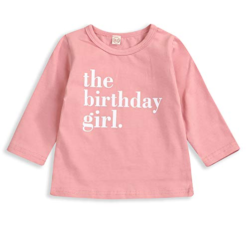 ZOELNIC The Birthday Girl Boy T-Shirt Unisex Baby Long Sleeve Tops Twins Solid Color Letter Printed Onesie (Pink, 4 Years)
