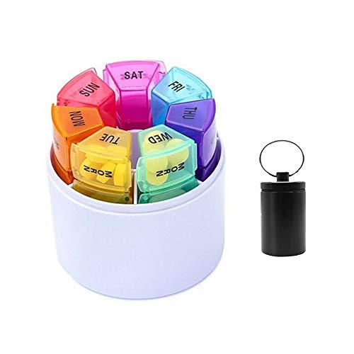 Tablettenbox 7 Tage 4 Fächer - Rund Pillenbox mit Kostenlosem Pillendose Schlüsselanhänger, Tablettendose Morgens Mittags Abends Nachts - Ideal für Medikamente, Tabletten, Vitamins