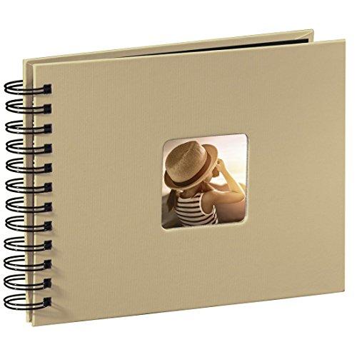 Hama Fine Art - Álbum de fotos, 50 páginas negras con espiral, compartimento para insertar foto), Papel, Beige, 24 x 17 cm
