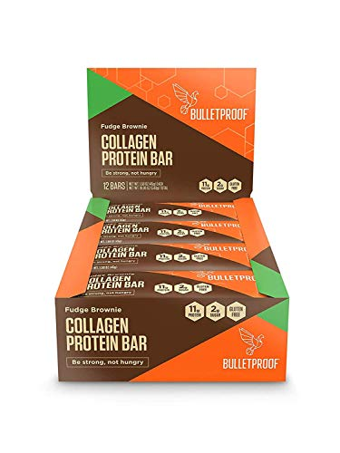 Bulletproof Fudge Brownie Collagen Protein Bars, Perfect Healthy Snack for Keto Diet, Paleo, Gluten-Free, Non-GMO, made with Pure MCT oil, For Men, Women, and Kids (Fudge Brownie) (Pack of 12)