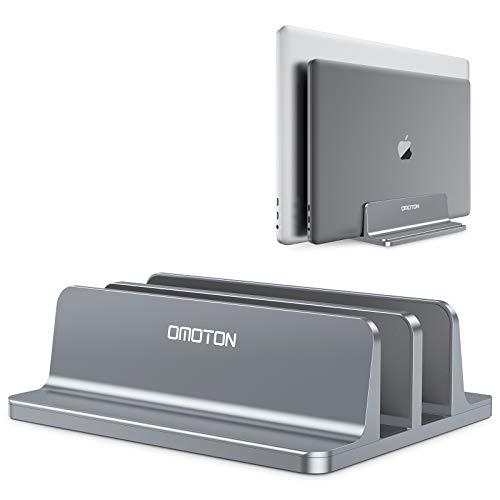 OMOTON platzsparend Laptopstander Verstellbarer vertikaler Alulegierung Laptop Stander fur alle Tablets und 10 173 Zoll Laptops zB MacBook Lenovo Dell und mehr Geeignet fur 2 Laptops Grau