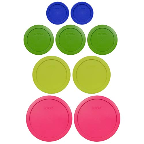 Pyrex (2) 7402-PC 6/7 Cup Fuchsia (2) 7201-PC 4 Cup Edamame Green (3) 7200-PC 2 Cup Lawn Green (2) 7202-PC 1 Cup Cadet Blue Replacement Food Storage Lids