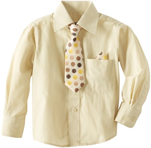 American Exchange Little Boys' Little Dress Shirt with Tie and Pocket Square, Beige, 3