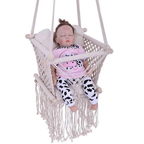 Dasuy Swing Seat Kids Children Baby Indoor Outdoor Hammock Hanging Rope Chair Backyard Tree Swing Net Seat Door Swing for Boys Girls 0-4 Years (Ship from US) (Beige, 47.24in×16.5in×13.8in)