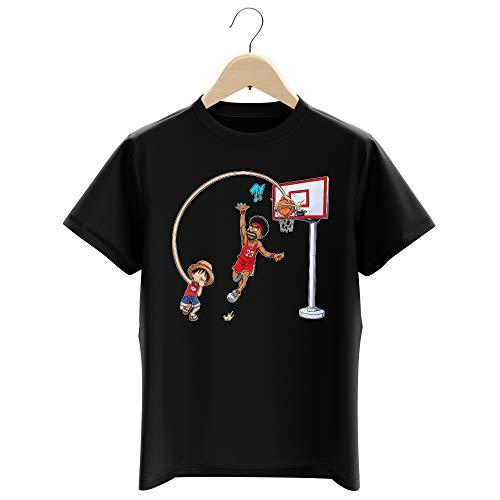 T-Shirt Enfant Garçon Noir Parodie One Piece - Luffy - Le Roi des Pirates. et du Playground !! (T-Shirt Enfant de qualité Premium de Taille 11-12 Ans - imprimé en France)