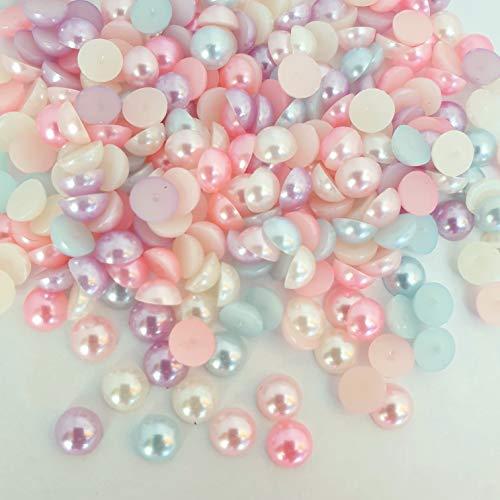 MajorCrafts 500pcs 6mm Pastel Mixed Colours Flat Back Half Round Resin Crafting Pearls