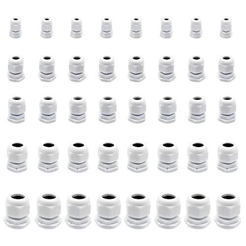FUJIE 40 Stück Kabelverschraubung Wasserdichte Kabelsteckverbinder Verstellbare Kabelverschraubungen M12, M16, M18, M20, M25 Weiß Nylon Kunststoffdrüsen