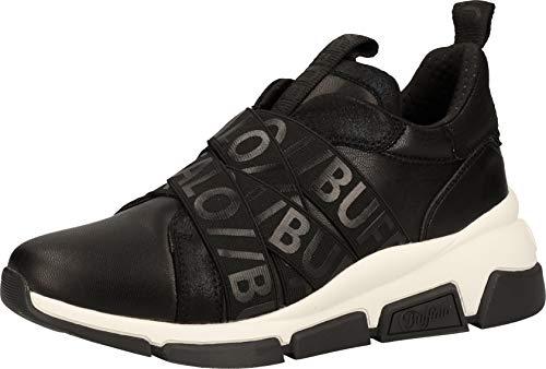 Buffalo Damen Sneaker Batter Sling, Frauen Low Top Sneaker, sportschuh Wedge-Sneaker keil-Absatz Lady Ladies feminin,Schwarz(Black),40 EU / 6.5 UK