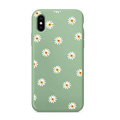 MAYCARI Cute Daisy Flower Phone Case for iPhone 6 Plus/iPhone 6s Plus, Liquid Silicone Soft Rubber Protective Phone Case Cover (with Soft Microfiber Lining) for Women Girls - Matcha Green