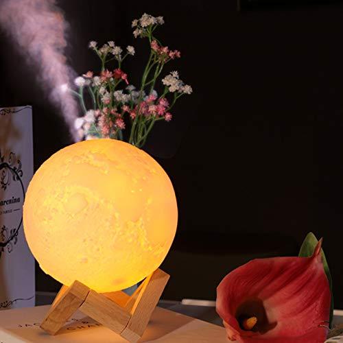 Humidificador Difusor De Aceite Esencial 3d Forma De Luna Con Efecto De Luz Nocturna 800ml Capacidad Para El Hogar, Oficina, Yoga, Dormitorio