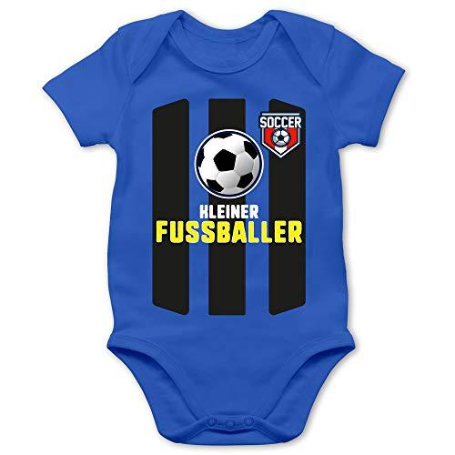 Shirtracer Strampler Motive - Kleiner Fussballer - 1/3 Monate - Royalblau - Baby 3 Monate - BZ10 - Baby Body Kurzarm für Jungen und Mädchen