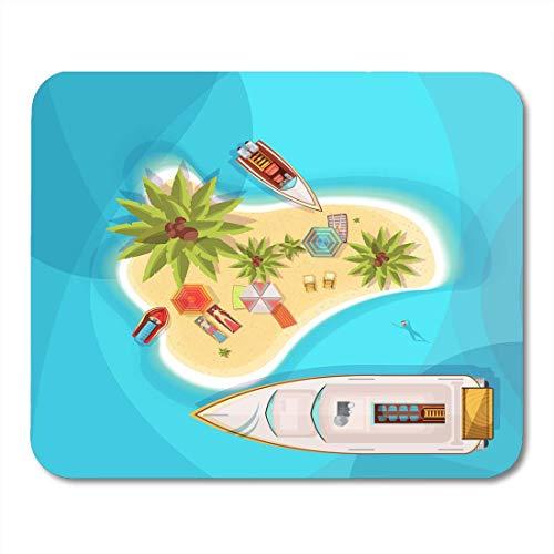 Mauspads Exotische Aqua Island Beach Draufsicht mit Menschen des blauen Meeres auf Liegestühlen unter Sonnenschirmen Boote Palmen Fahrrad Mauspad für Notebooks, Desktop-Computer Büromaterial