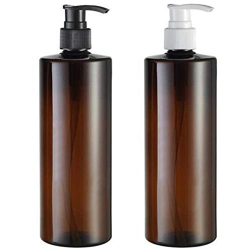 Yalbdopo 2 Botes de plástico vacíos de 500 ml / 17 oz para loción de plástico de Repuesto, Color Negro y Blanco, para champú (marrón)