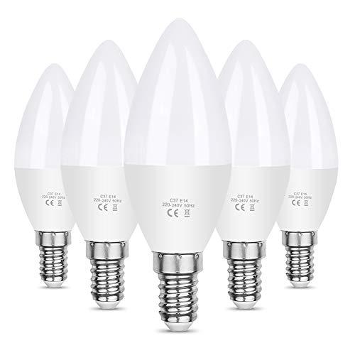 Vicloon Ampoule LED E14,5Pcs C37 LED E14 Bougie LED,5.5W Équivalent Ampoule Incandescente 40W,Ampoule LED Plastique,220-240V 5.5 W,Blanc Chaud 3000K,550LM,Angle de Diffusion 270°,Non Dimmable