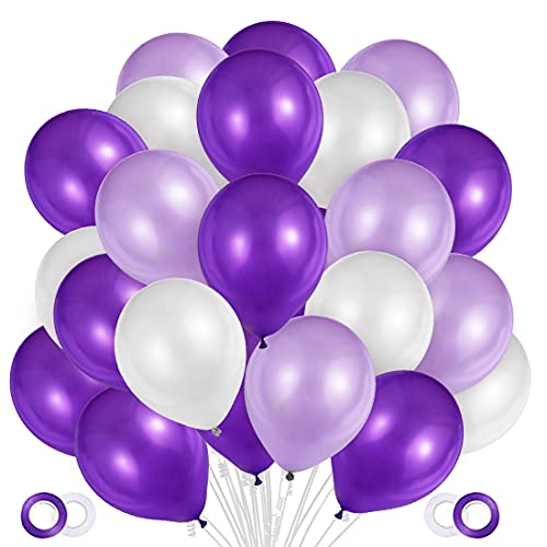100 Stück Luftballons Lila Weiß Pink,Helium Luftballons Lila Weiß, Perle Latex Ballons Helium für Hochzeit Geburtstag und Mädchen Taufe Kommunion Party Deko