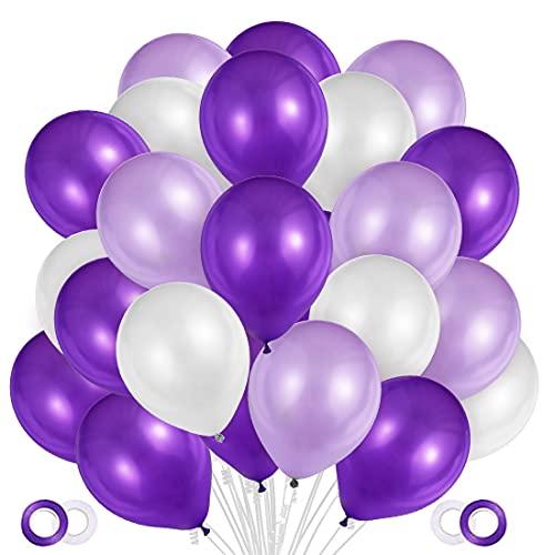 100 Stück Luftballons Lila Weiß Pink,Helium Luftballons Lila Weiß, Perle Latex Ballons Helium...
