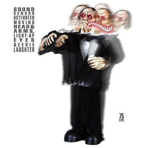 Widmann 01413 Zombiebräutigam Kopf und bewegbaren Armen, leuchtenden Augen und böser Lache, Unisex– Erwachsene, Schwarz, Taglia unica