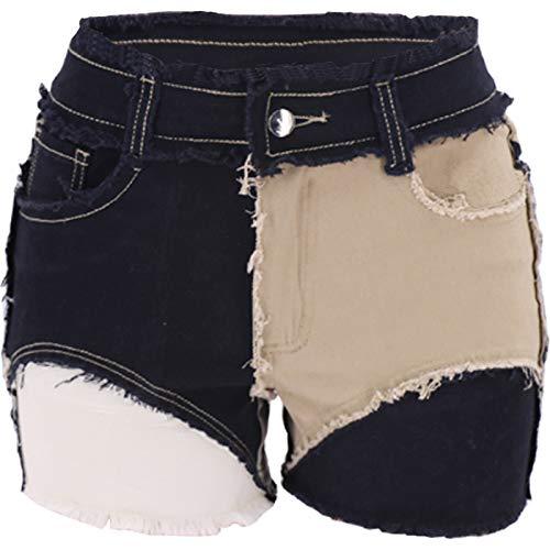 Pantalones Cortos Deportivos básicos de Cintura Alta de Talla para Mujer Pantalones Cortos de Fondo Moda Simple Color sólido Falso Empalme de Dos Piezas L