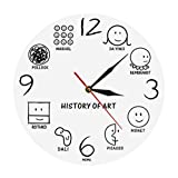Historia De Arte Reloj De Pared Vintage Da Vinci Picasso Muesum Artista De Arte Moderno Reloj De Pared Decorativo Amante del Arte Regalo Blanco 30x30cm