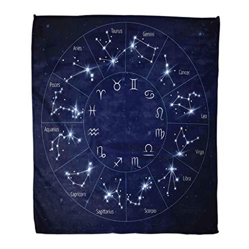 KENDIA Manta de Franela Mapa de la constelación del Zodiaco Leo Virgo Escorpio Libra Acuario Sagitario (80 * 60 Pulgadas)