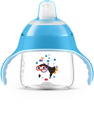 Philips Avent SCF751/05 - Vaso con boquilla blanda, diseño pingüino, para 6 meses, 200 ml, color azul