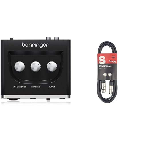 Behringer U-PHORIA UM2 & Stagg High Quality XLRf to XLRm Plug Microphone Cavo, 3 m, Nero