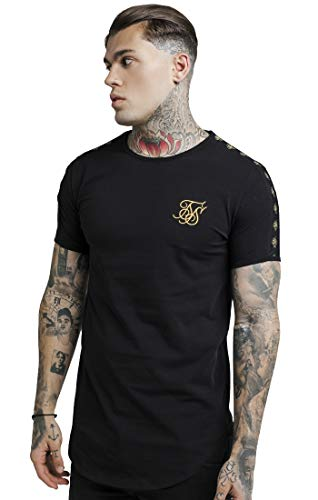 Sik Silk SS-13561 Lurex Gold Tape T-Shirt - Black Small Black