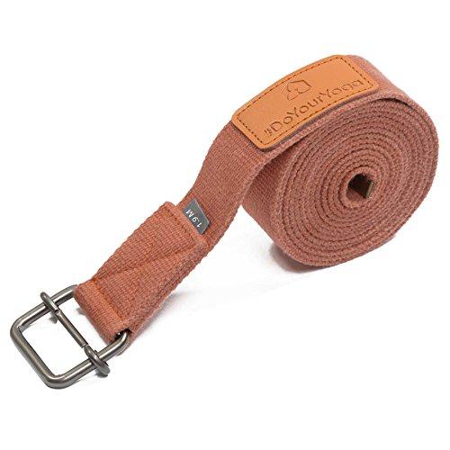 Cintura Yoga »Yaro« / Cinghia per Yoga, Cintura in 100% Cotone con Stabile Fibbia Rotonda di Metallo/Dimensione: 1,9m, 2,5m 3m / Disponibile in Tanti Colori / 3m / Carne