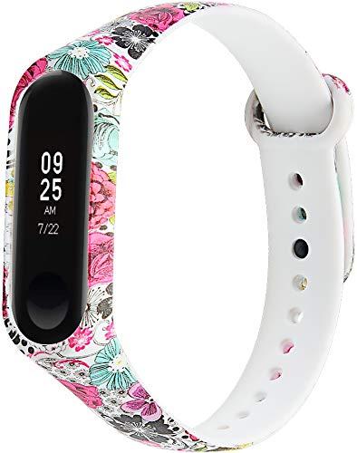 Chainfo Correa de Reloj Compatible con Xiaomi Mi Band 3 / Mi Band 4 / Mi Smart Band 4 / Mi Fit Band 4, Blando Silicona Narrow Delgada Deporte Reemplazo Pulsera (Pattern 11)