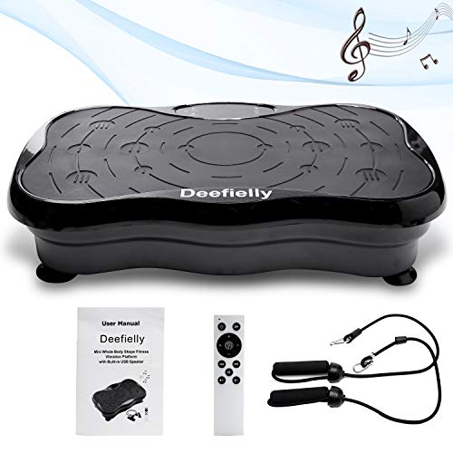 Deefielly Mini Vibration Plate Exercise Machine Whole Body Workout Fitness Vibration Platform Machine Home Training Equipment for Adult Weight Loss with Bluetooth Speaker from