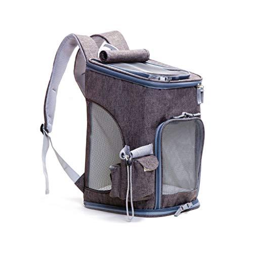 PULLEY Mochila para gatos, bolsa de transporte para mascotas con malla para gatos y perros pequeños, mochila cómoda para gatos, para senderismo, viajes, camping al aire libre (color gris oscuro)