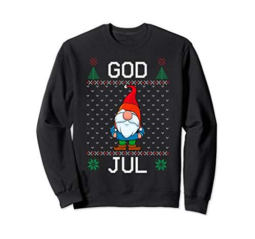 God Jul Swedish Tomte Gnome Hässliche Weihnachten Jungen Sweatshirt