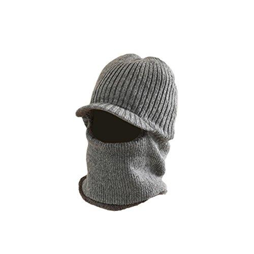 VORCOOL Gestrickt Sturmhaube Maske Winter Balaclava Strickmütze mit Schirm Winddicht für Damen Herren (Grau)