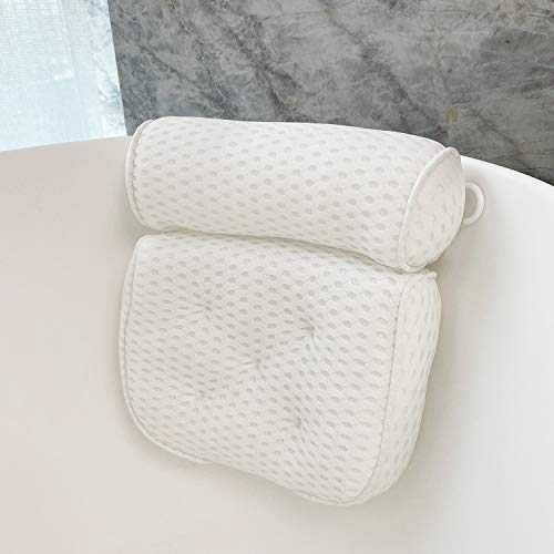 Bath Pillows for Tub 4D Mesh Spa Bathtub Pillow Cushion Rest 7 Suction Cups Head Neck Shoulder Back Support Washable Quick Dry (white)