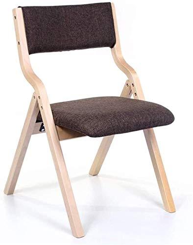 QZMX Stuhl Startseite Rücken Dining Chair zusammenklappbaren Außen Stuhl, Leinen Sitzkissen Bürostuhl Einfache Make-up-Stuhl, leicht zu verstauen Bürostuhl (Color : Wood Color)