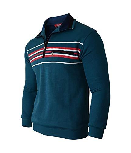 Humy Herren Langarm Gestreifte Sweatshirt, Poloshirt, Polohemd aus Baumwoll-Mix (M bis 3XL) (M, Türkis)