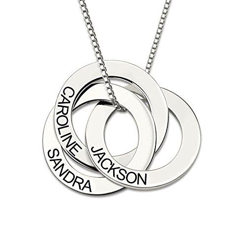 Bofum 925 Sterling Silber personalisierte russische Ring Namenskette Custom Made mit 3 Namen Geschenk für Mama