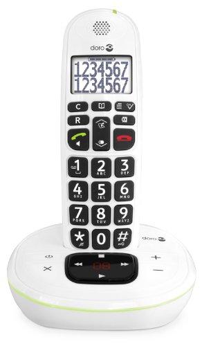 Doro PhoneEasy 115 Telefono cordless (Caratteri e numeri grandi, segnalazione ottica di chiamata, segreteria telefonica), Bianco