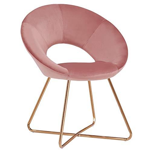 Duhome Silla de Comedor de Tela (Terciopelo) Rosa diseño Retro Silla tapizada Vintage sillón con Patas de Metallo seleccion de Color 439D