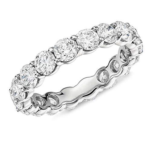 AINUOSHI 925 Sterling Silver Ring 4mm Round/Cushion Cut Cubic Zirconia CZ Fashion Eternity Engagement Wedding Band Ring (Round-Shape, 4.5)